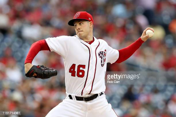 Starting pitcher Patrick Corbin of the Washington Nationals throws to a Miami Marlins batter in the eighth inning at Nationals Park on May 25 2019 in...