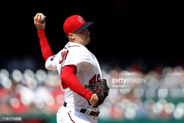 Starting pitcher Patrick Corbin of the Washington Nationals throws to a Miami Marlins batter in the second inning at Nationals Park on May 25 2019 in...