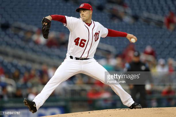 Starting pitcher Patrick Corbin of the Washington Nationals works the first inning against the St Louis Cardinals at Nationals Park on April 29 2019...