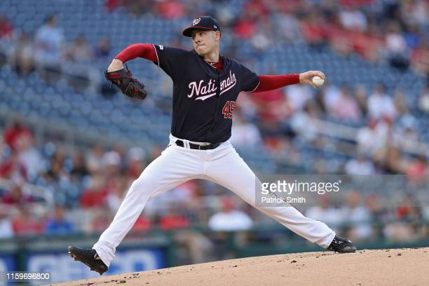Starting pitcher Patrick Corbin of the Washington Nationals works the first inning against the Miami Marlins at Nationals Park on July 02 2019 in...