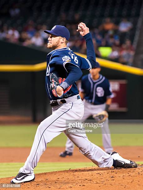 Starting pitcher Paul Clemens of the San Diego Padres delivers a pitch in the first inning of the MLB game against the Arizona Diamondbacks at Chase...
