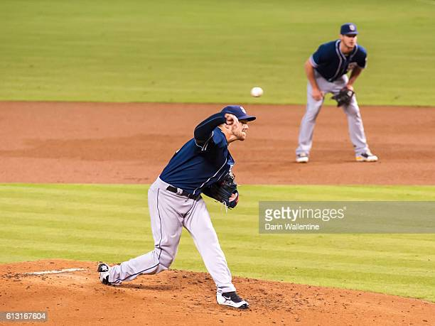 Starting pitcher Paul Clemens of the San Diego Padres delivers a pitch against the Arizona Diamondbacks in the second inning of the MLB game at Chase...