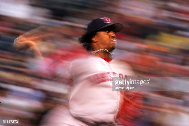 Starting pitcher Pedro Martinez of the Boston Red Sox pitches against the Baltimore Orioles July 26, 2004 at Camden Yards in Baltimore, Maryland.