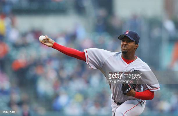 Starting pitcher Pedro Martinez of the Boston Red Sox throws a pitch during the game against the Baltimore Orioles at Oriole Park at Camden Yards on...