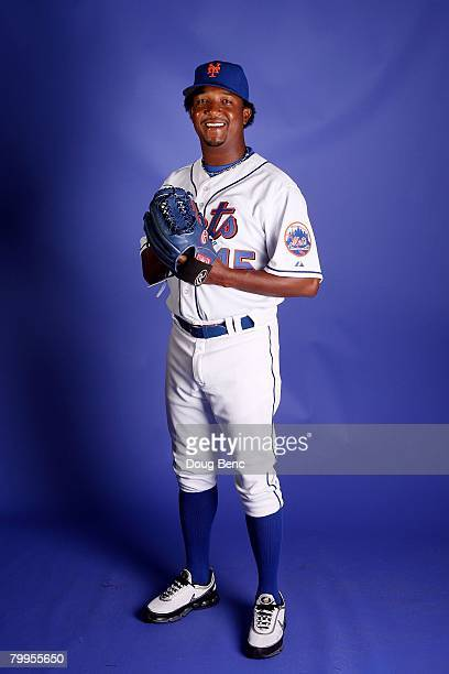 Starting pitcher Pedro Martinez of the New York Mets poses during Spring Training Photo Day at Tradition Field on February 23 2008 in Port Saint...