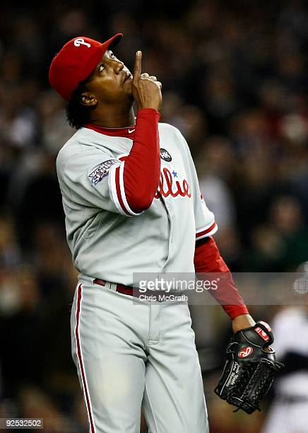 Starting pitcher Pedro Martinez of the Philadelphia Phillies comes out of the game in the seventh inning against the New York Yankees in Game Two of...