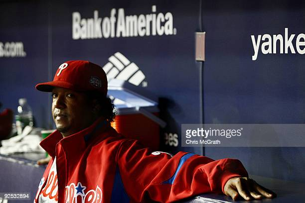 Starting pitcher Pedro Martinez of the Philadelphia Phillies looks on from the dugout against the New York Yankees in Game Two of the 2009 MLB World...