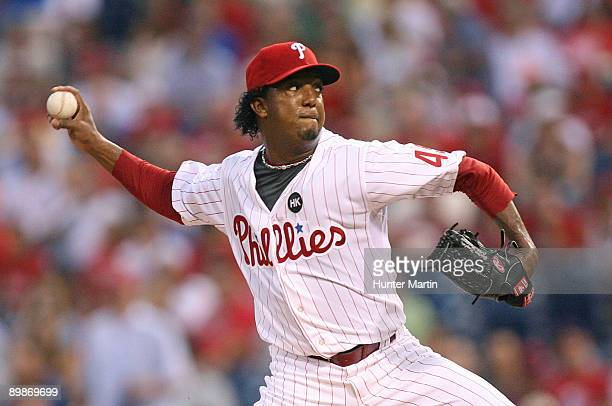 Starting pitcher Pedro Martinez of the Philadelphia Phillies throws a pitch during a game against the Arizona Diamondbacks at Citizens Bank Park on...