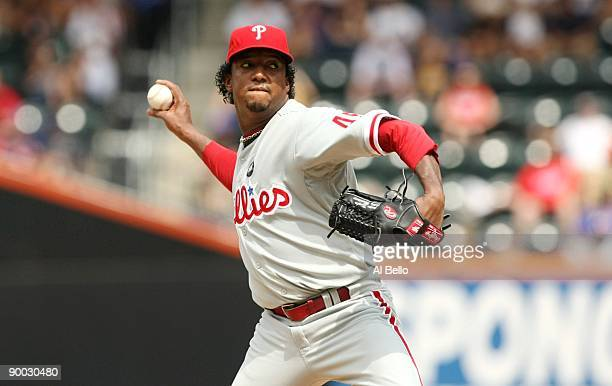 Starting pitcher Pedro Martinez of the Philadelphia Phillies throws a pitch against the New York Mets on August 23, 2009 at Citi Field in the...