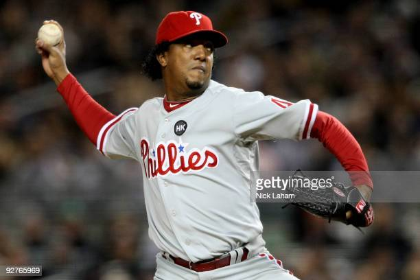 Starting pitcher Pedro Martinez of the Philadelphia Phillies throws a pitch against the New York Yankees in Game Six of the 2009 MLB World Series at...
