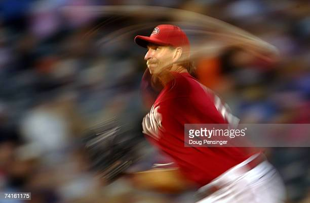 Starting pitcher Randy Johnson of the Arizona Diamondbacks delivers against the Colorado Rockies on May 15 2007 at Coors Field in Denver Colorado...