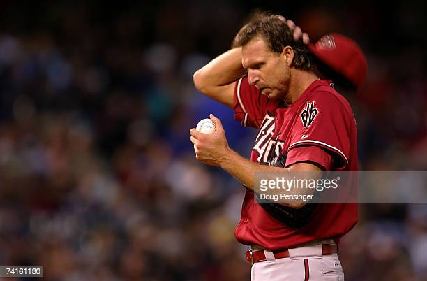 Starting pitcher Randy Johnson of the Arizona Diamondbacks prepares to deliver against the Colorado Rockies on May 15 2007 at Coors Field in Denver...