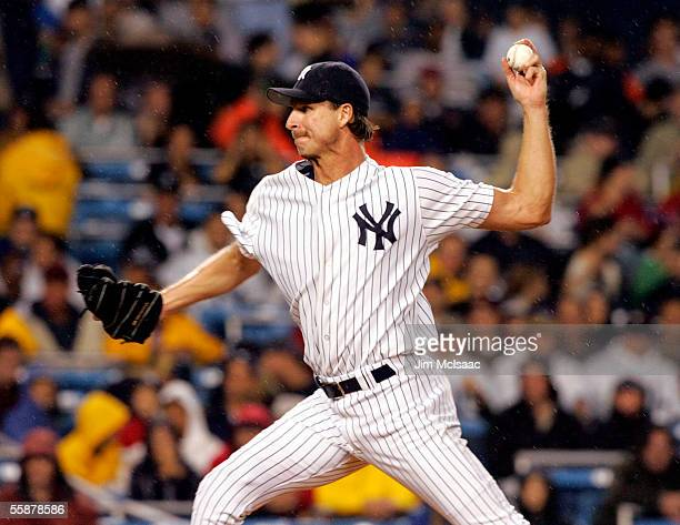 Starting pitcher, Randy Johnson of the New York Yankees throws against the Los Angeles Angels of Anaheim during Game Three of the American League...