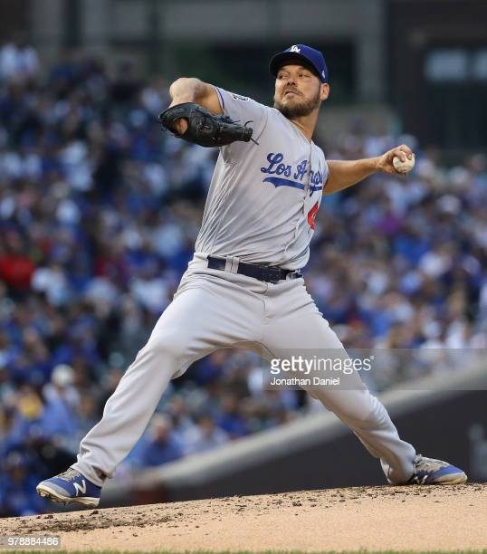 Starting pitcher Rich Hill of the Los Angeles Dodgers delivers the ball against the Chicago Cubs at Wrigley Field on June 19 2018 in Chicago Illinois