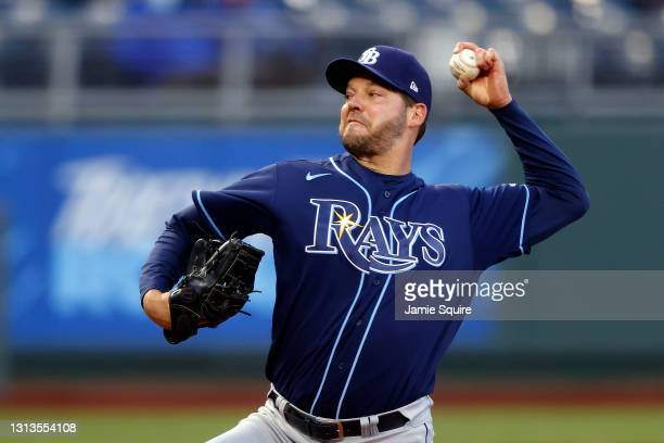 Starting pitcher Rich Hill of the Tampa Bay Rays pitches during the 1st inning fo the game against the Kansas City Royals at Kauffman Stadium on...