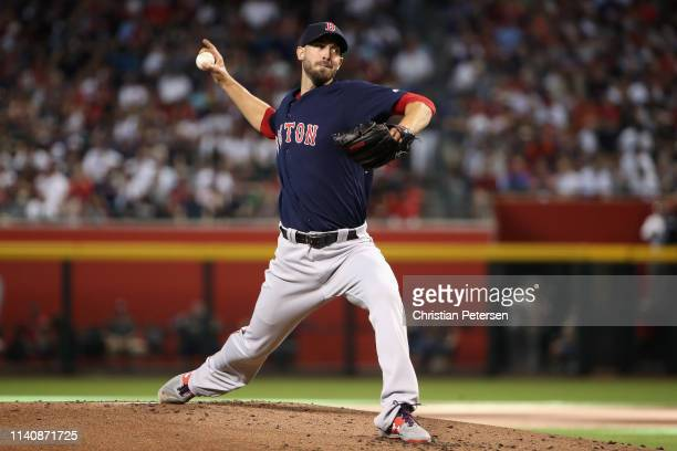 Starting pitcher Rick Porcello of the Boston Red Sox pitches against the Arizona Diamondbacks during the MLB game at Chase Field on April 05 2019 in...