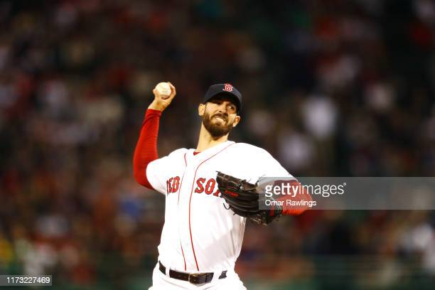 Starting pitcher Rick Porcello of the Boston Red Sox pitches at the top of the first inning of the game against the New York Yankees at Fenway Park...