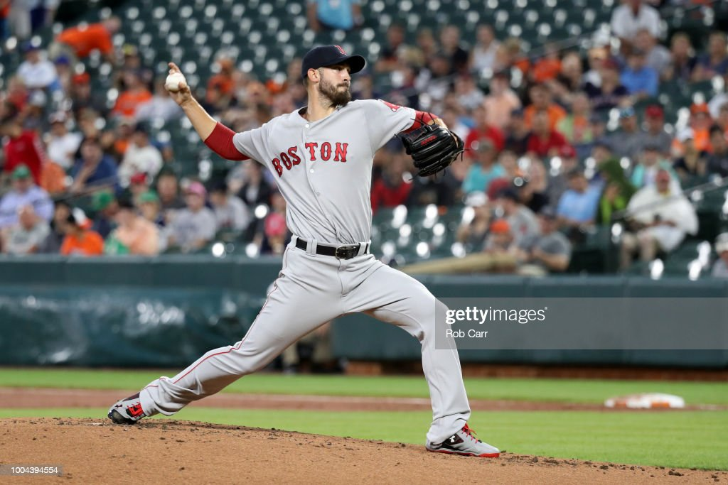 Starting pitcher Rick Porcello #22 of the Boston Red Sox throws to a Baltimore Orioles batter in the second inning at Oriole Park at Camden Yards on July 23, 2018 in Baltimore, Maryland.