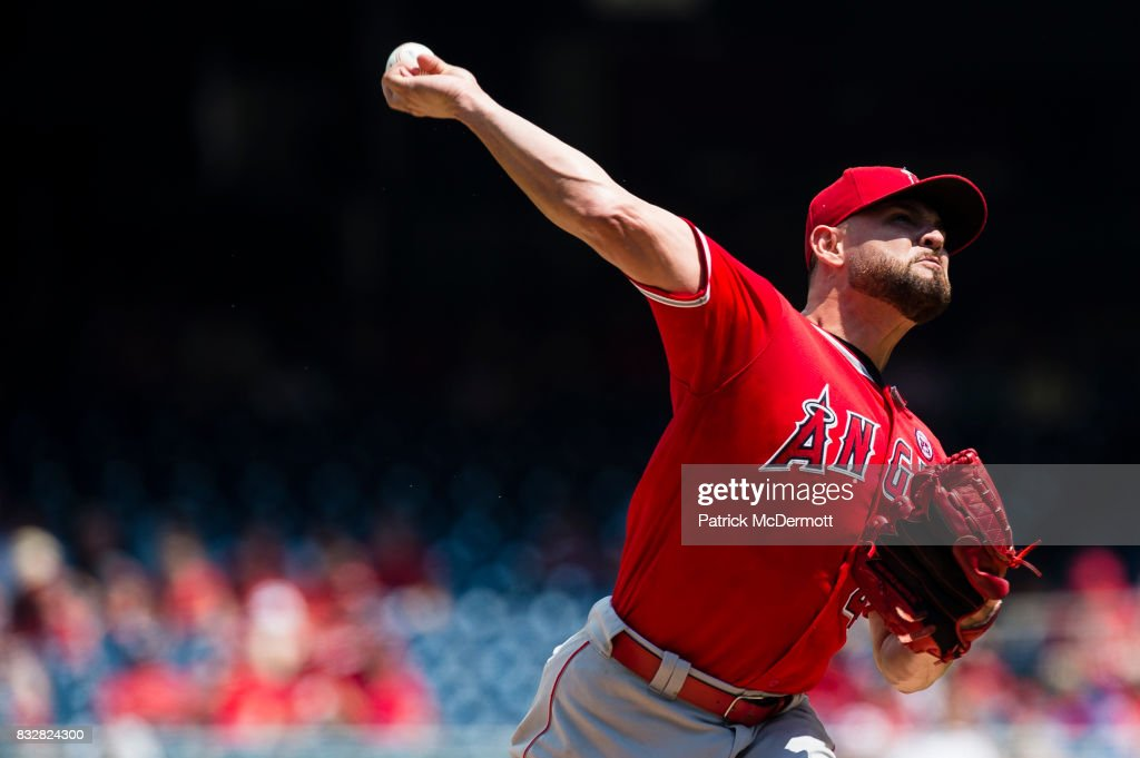 Starting pitcher Ricky Nolasco #47 of the Los Angeles Angels of Anaheim throws a pitch to a Washington Nationals batter in the first inning during a game at Nationals Park on August 16, 2017 in Washington, DC.