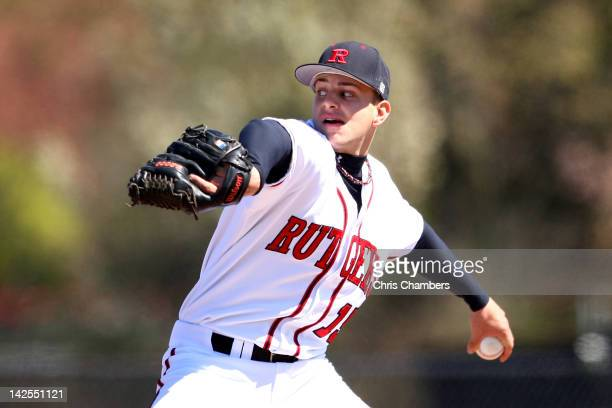 Starting pitcher Rob Smorol of the Rutgers Scarlet Knights throws a pitch against the St John's Red Storm during their Big East Conference Game at...