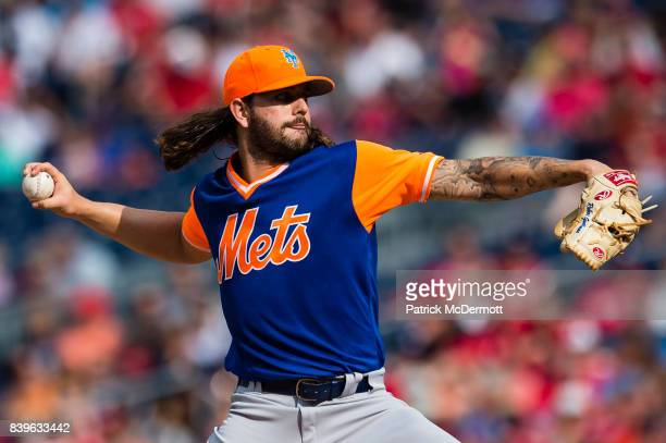Starting pitcher Robert Gsellman of the New York Mets throws a pitch to a Washington Nationals batter in the second inning at Nationals Park on...
