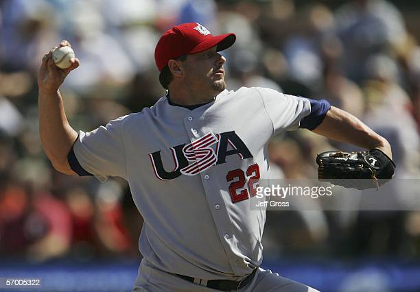 Starting pitcher Roger Clemens of Team USA pitches during an exhibition Spring Training game against the San Francisco Giants at Scottsdale Stadium...