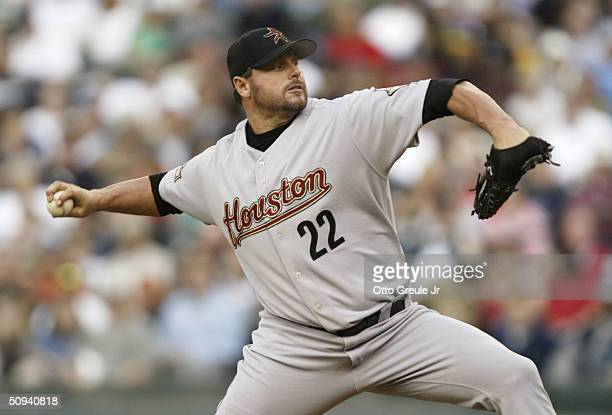 Starting Pitcher Roger Clemens of the Houston Astros pitches against the Seattle Mariners on June 8 2004 at Safeco Field in Seattle Washington