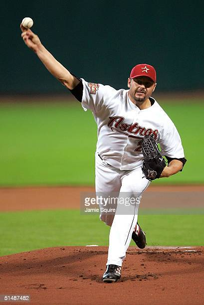 Starting pitcher Roger Clemens of the Houston Astros throws a pitch in game three of National League Championship Series against the St. Louis...