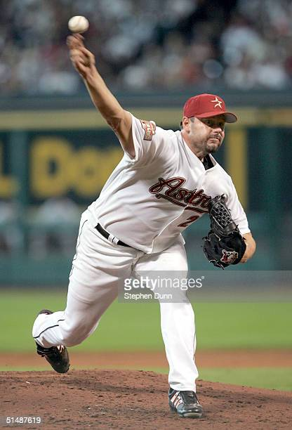 Starting pitcher Roger Clemens of the Houston Astros throws a pitch against the St. Louis Cardinals in Game three of National League Championship...