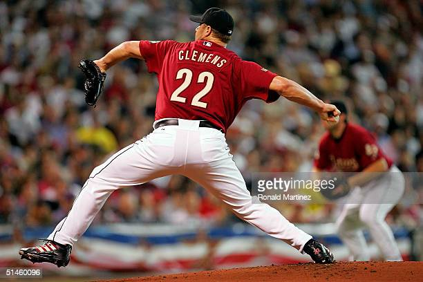 Starting pitcher Roger Clemens of the Houston Astros throws against the Atlanta Braves during game four of the National League Division Series on...