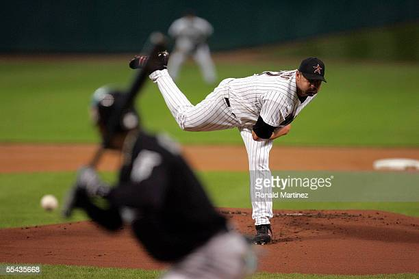 Starting pitcher Roger Clemens of the Houston Astros throws against Luis Castillo of the Florida Marlins on September 14 2005 at Minute Maid Park in...