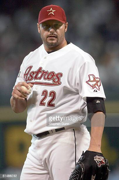 Starting pitcher Roger Clemens of the Houston Astros warms up against the St. Louis Cardinals in Game three of National League Championship Series...