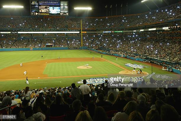 Starting pitcher Roger Clemens of the New York Yankees faces his last batter Luis Castillo of the Florida Marlins before leaving the game in the...