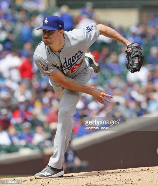 Starting pitcher Ross Stripling of the Los Angeles Dodgers delivers the ball against the Chicago Cubs at Wrigley Field on April 25, 2019 in Chicago,...