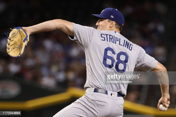 Starting pitcher Ross Stripling of the Los Angeles Dodgers pitches against the Arizona Diamondbacks during the first inning of the MLB game at Chase...