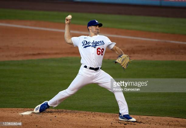 Starting pitcher Ross Stripling of the Los Angeles Dodgers throws a pitch against the San Diego Padres during the second inning at Dodger Stadium on...