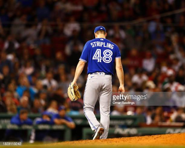 Starting pitcher Ross Stripling of the Toronto Blue Jays leaves the mound in the bottom of the sixth inning of the game against the Boston Red Sox at...