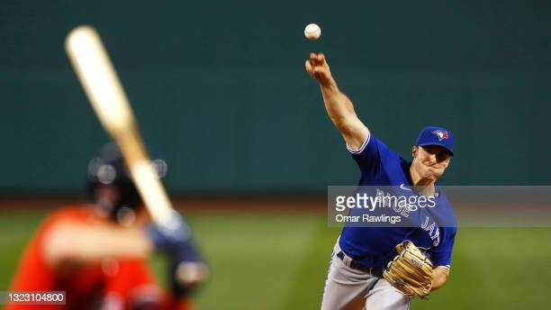 Starting pitcher Ross Stripling of the Toronto Blue Jays pitches in the bottom of the second inning of the game against the Boston Red Sox at Fenway...