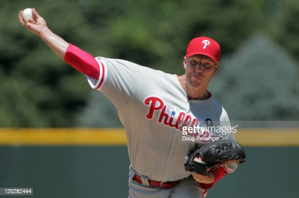 Starting pitcher Roy Halladay of the Philadelphia Phillies delivers against the Colorado Rockies at Coors Field on August 3 2011 in Denver Colorado