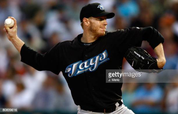 Starting pitcher Roy Halladay of the Toronto Blue Jays pitches against the Tampa Bay Rays during the game on April 23 2008 at Champions Stadium in...
