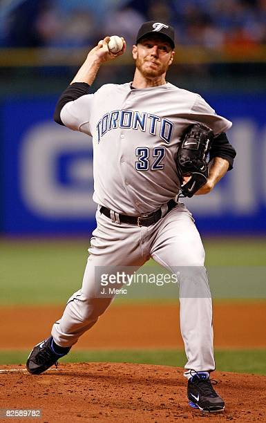 Starting pitcher Roy Halladay of the Toronto Blue Jays pitches against the Tampa Bay Rays during the game on August 26 2008 at Tropicana Field in St...