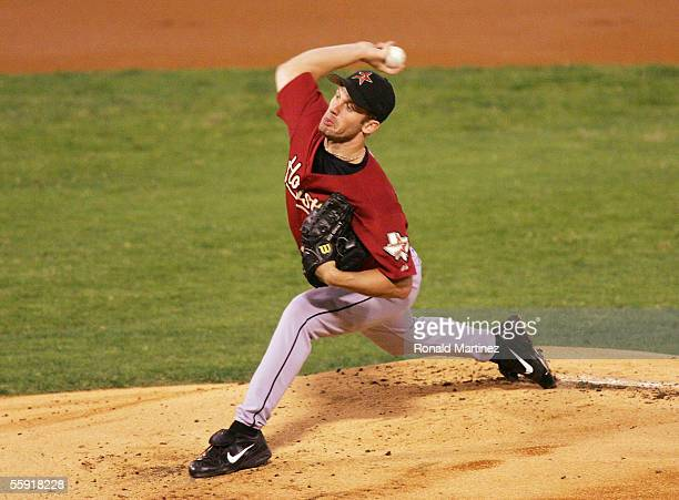 Starting pitcher Roy Oswalt of the Houston Astros pitches in the first inning against St Louis Cardinals in Game Two of the 2005 National League...