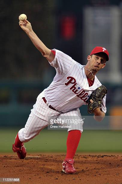 Starting pitcher Roy Oswalt of the Philadelphia Phillies delivers a pitch during the game against the Florida Marlins at Citizens Bank Park on April...