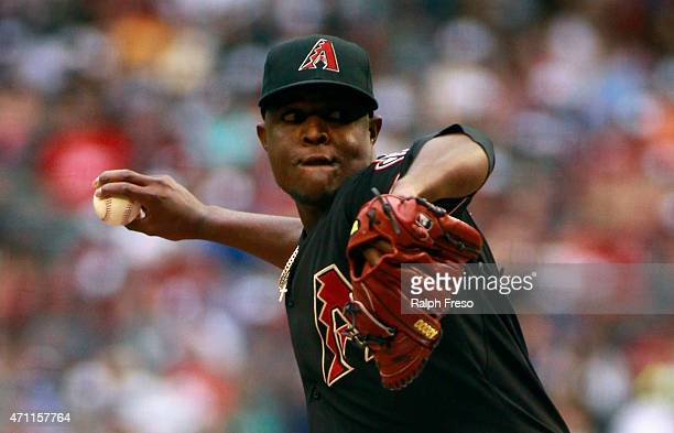 Starting pitcher Rubby De La Rosa of the Arizona Diamondbacks delivers a pitch against the Pittsburgh Pirates during the first inning of a MLB game...
