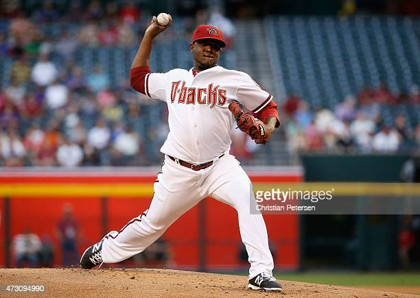 Starting pitcher Rubby De La Rosa of the Arizona Diamondbacks pitches against the Washington Nationals during the MLB game at Chase Field on May 12...