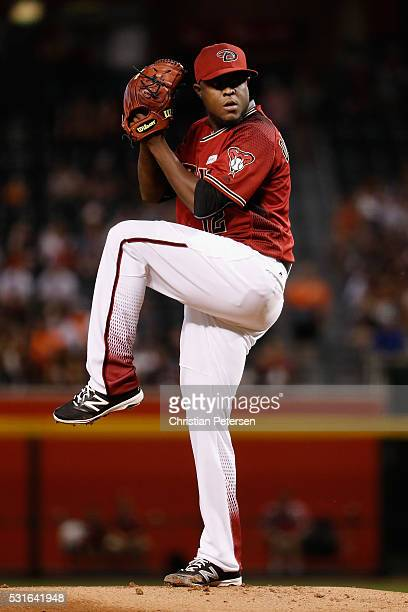 Starting pitcher Rubby De La Rosa of the Arizona Diamondbacks pitches against the San Francisco Giants during the first inning of the MLB game at...