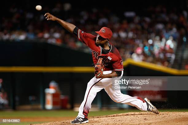 Starting pitcher Rubby De La Rosa of the Arizona Diamondbacks pitches against the San Francisco Giants during the third inning of the MLB game at...