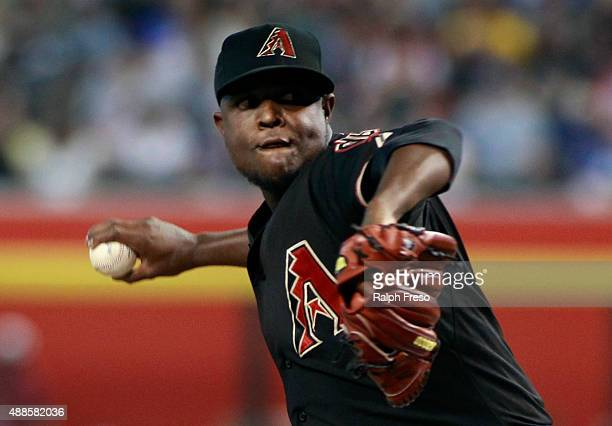 Starting pitcher Rubby De La Rosa of the Arizona Diamondbacks throws against the Los Angeles Dodgers during the first inning of a MLB game at Chase...