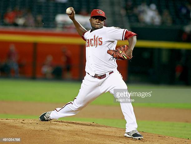 Starting pitcher Rubby De La Rosa of the Arizona Diamondbacks throws against the Houston Astros during the first inning of a MLB game at Chase Field...