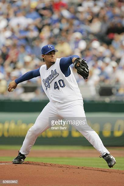 Starting pitcher Runelvys Hernandez of the Kansas City Royals throws against the Seattle Mariners on opening day April 11 2005 at Kauffman Stadium in...